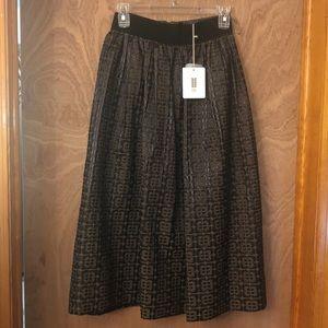 NEW Orla Kiely Black Bottom Flower Skirt